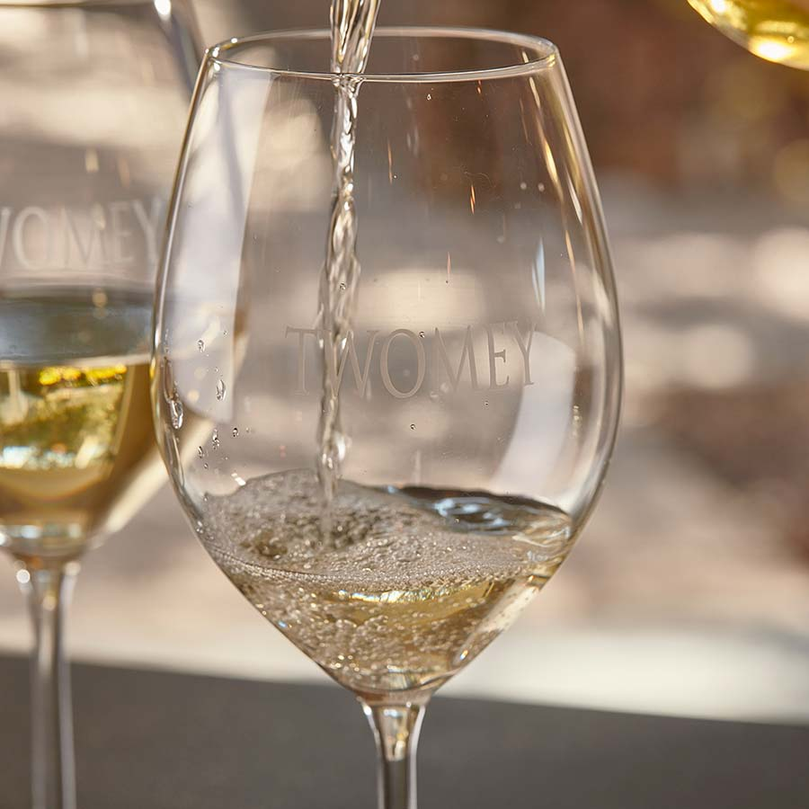 Pouring a glass of Twomey Sauvignon Blanc