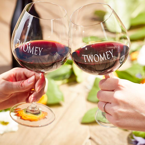 Cheers with Twomey wine glasses